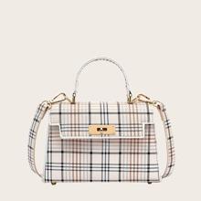 Plaid Satchel Bag
