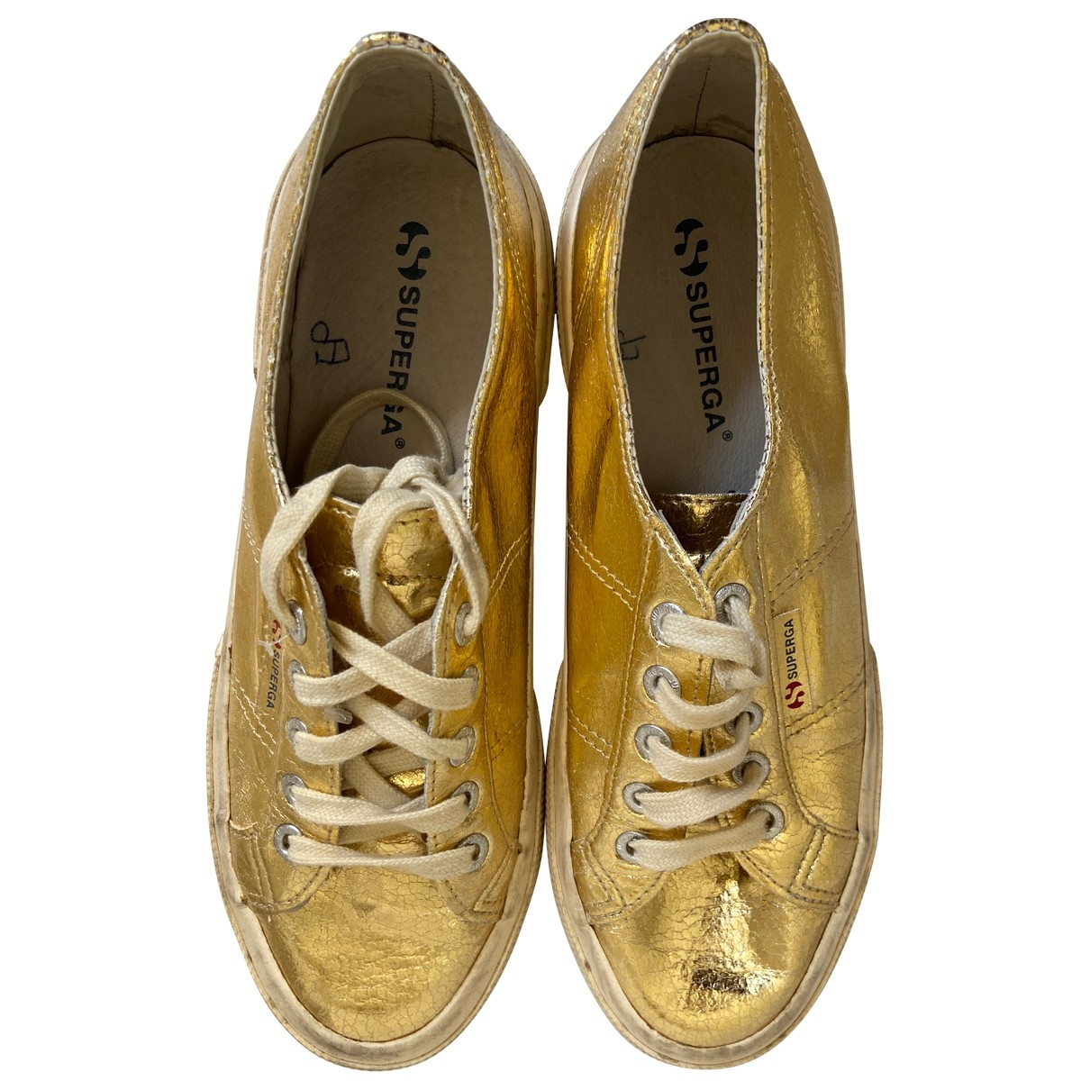 Superga \N Gold Leather Trainers for Women 39 EU