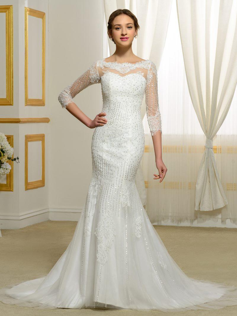 Eridress Sequins Beading Appliques Mermaid Wedding Dress