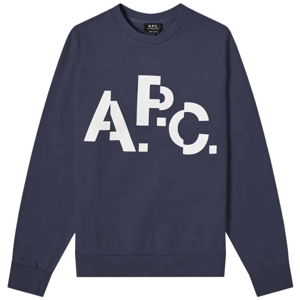 A.P.C Decale Logo Print Sweatshirt Colour: NAVY, Size: EXTRA EXTRA LARGE
