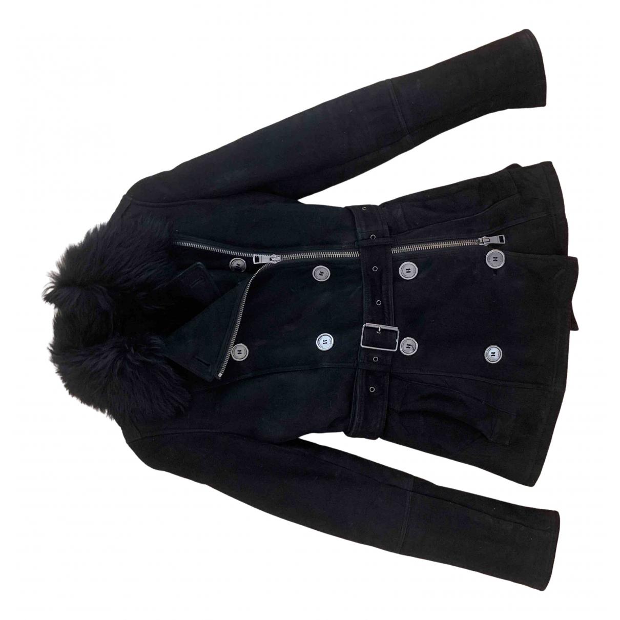 Burberry - Manteau   pour femme en suede - noir