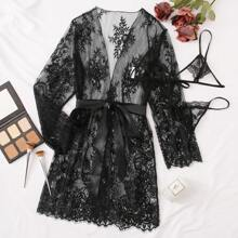 Plus Floral Lace Lingerie Set With Belted Robe