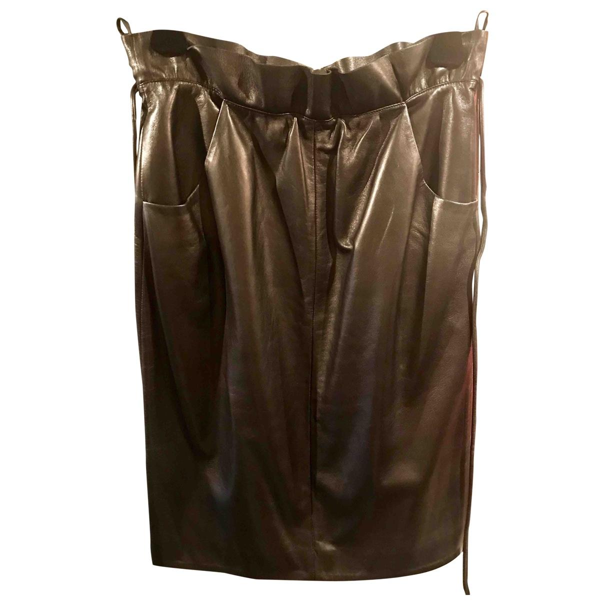 Valentino Garavani \N Black Leather skirt for Women 44 IT