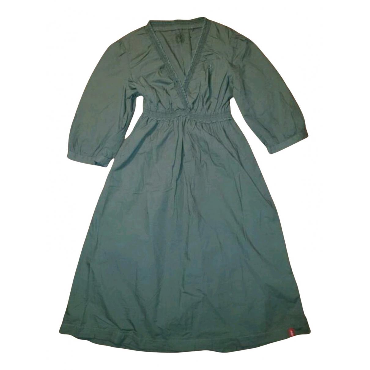 Esprit \N Kleid in  Khaki Baumwolle