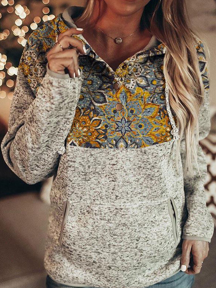 Ethnic Print Patchwork Long Sleeve Button Hoodie For Women