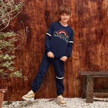 Conjunto pullover con parche con bordado con cinta de rayas con joggers