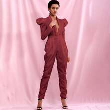 Plunging Neck Gigot Sleeve Jumpsuit