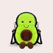 Avocado Design Fluffy Crossbody Bag