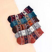 5 pares calcetines con patron de navidad