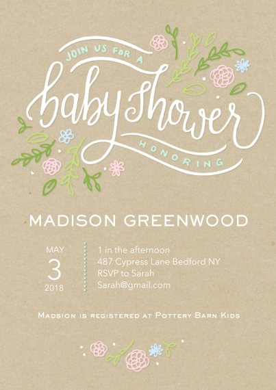 Baby Shower Invitations 5x7 Cards, Premium Cardstock 120lb with Elegant Corners, Card & Stationery -Baby Shower Floral