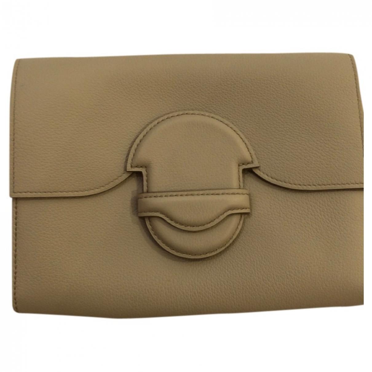Hermes - Pochette   pour femme en cuir - ecru