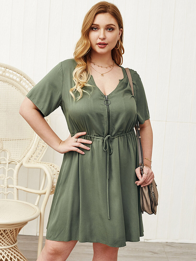 Casual Solid Color Zipper Plus Size Dress with Belt