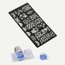 Stanzwerkzeug Schaberplatten Set fuer Nagelkunst 3pcs