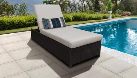 Barbados Collection BARBADOS-W-1x-BEIGE Wicker Patio Chaise with Wheels - Wheat and Beige