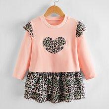 Toddler Girls Heart Pattern Layered Hem Babydoll Dress