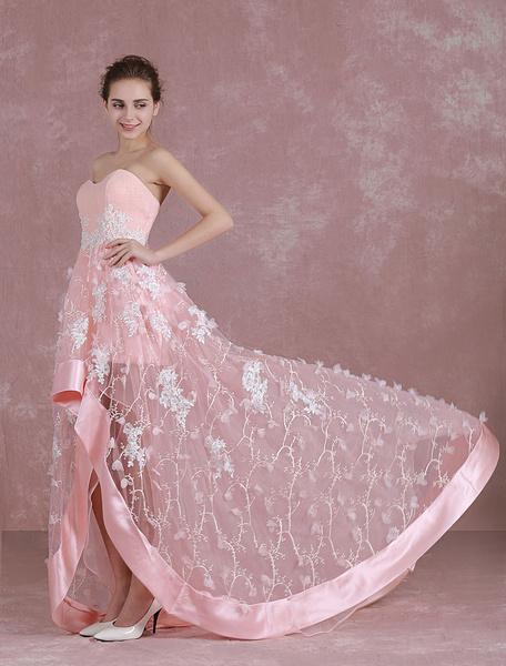 Milanoo Vestidos de fiesta largos Vestidos de gala Rosado ligero con escote en corazon sin mangas con pliegues