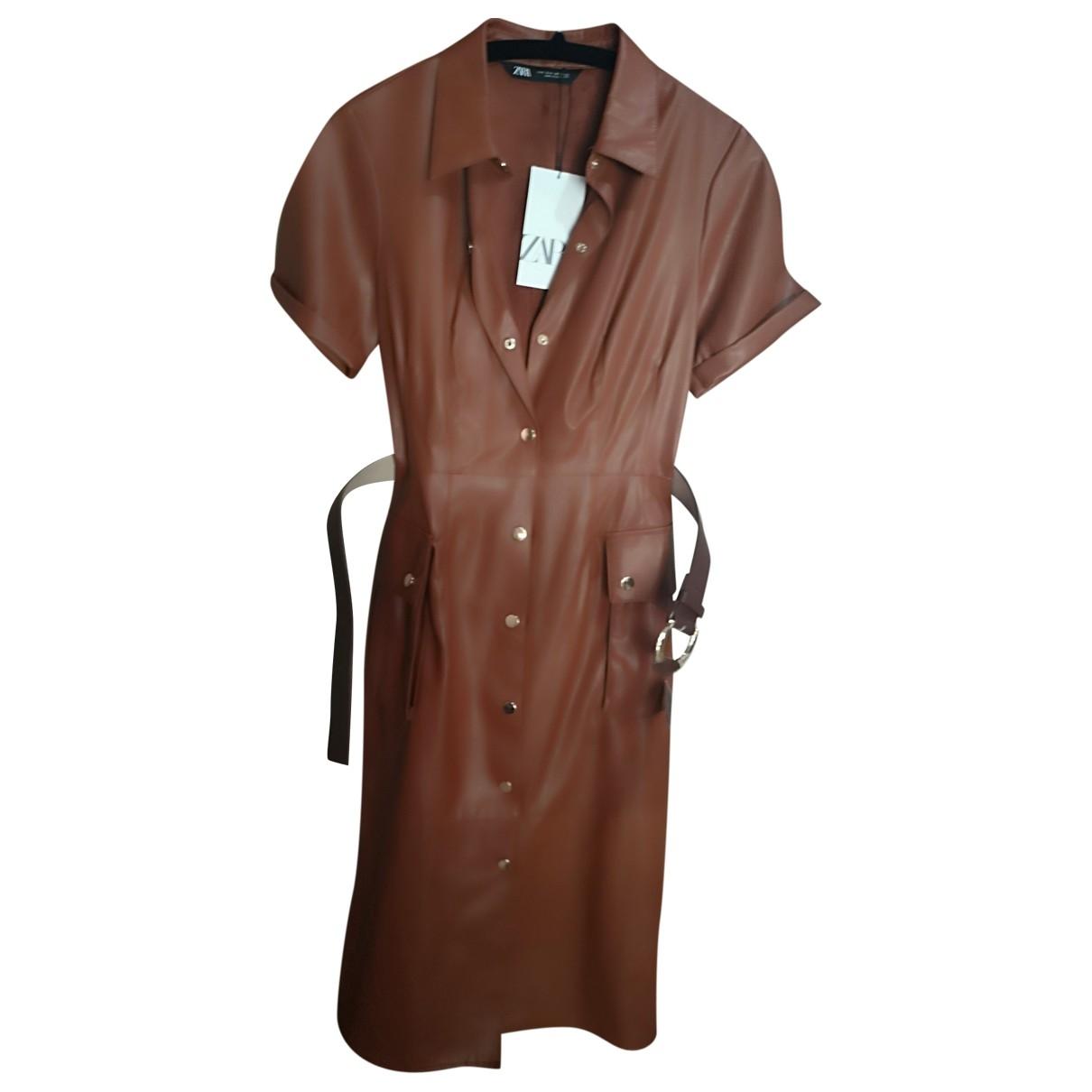 Zara \N Brown Leather dress for Women S International