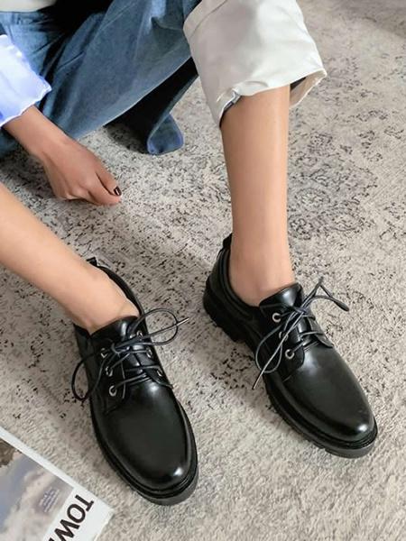 Milanoo Zapatos casuales marrones Mujer Clasico Punta redonda PU Cuero con cordones Oxfords