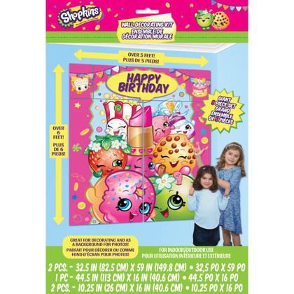 Shopkins 1 Wall Decoration Kit 5 pcs. For Birthday Party