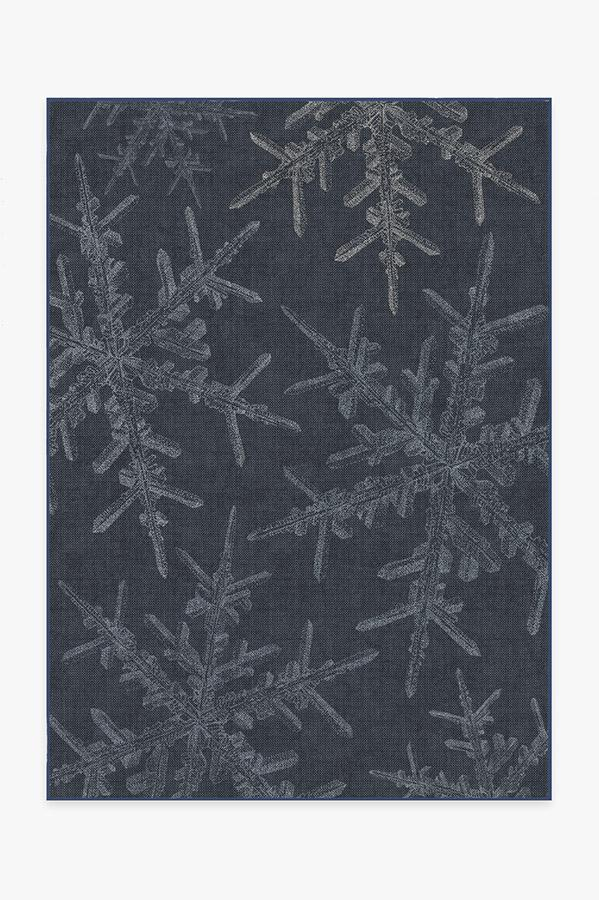 Washable Rug Cover | Snowflake Navy Rug | Stain-Resistant | Ruggable | 5'x7'
