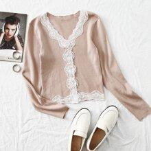 Lace Trim Button Front Rib-knit Crop Cardigan