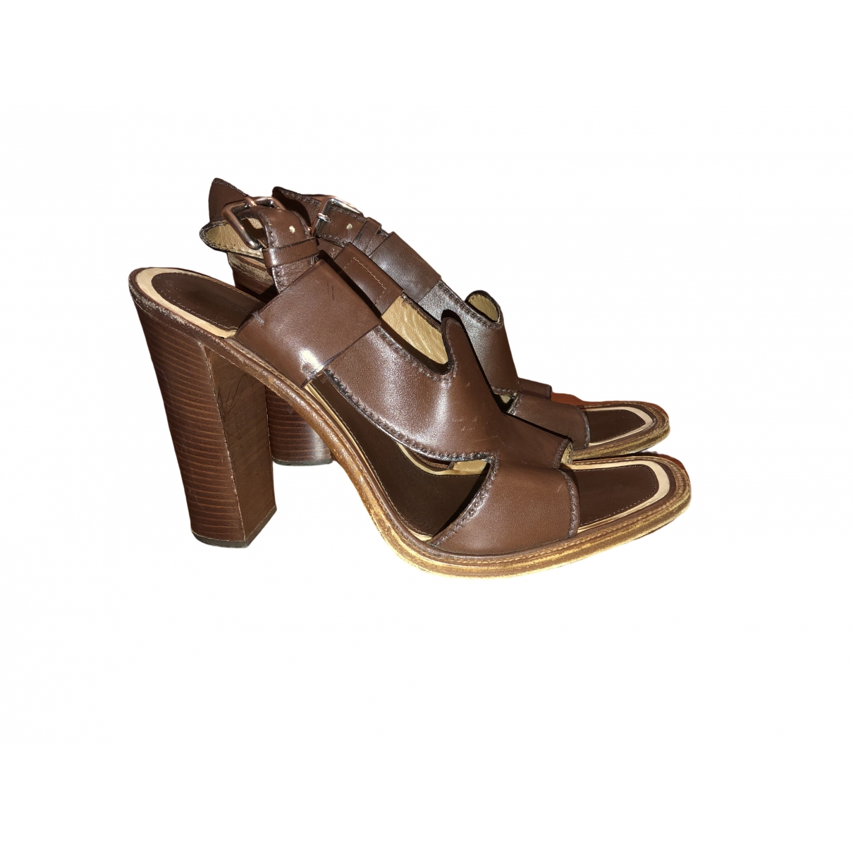 Prada \N Brown Leather Sandals for Women 40 IT