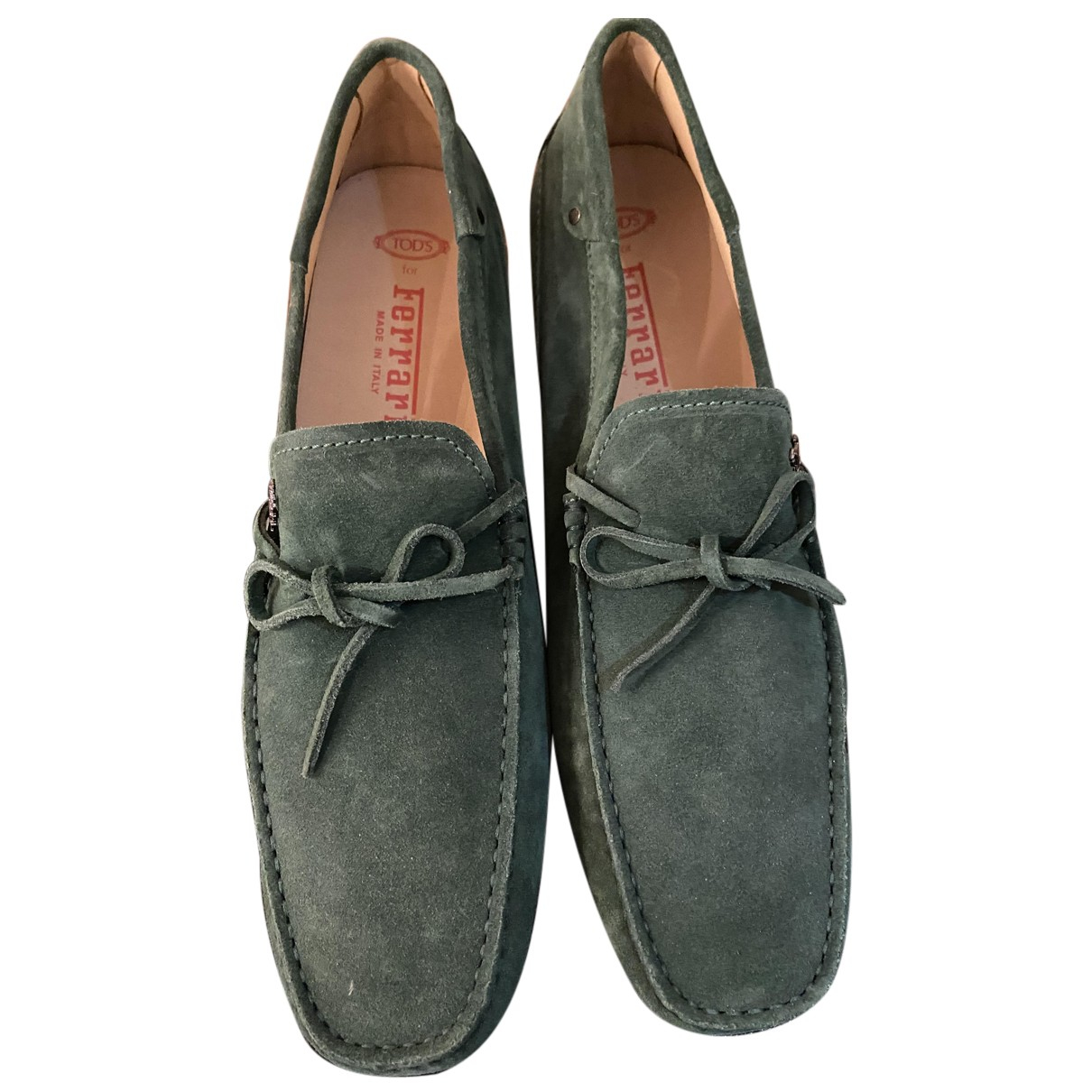 Tod's Gommino Green Suede Flats for Men 10 UK
