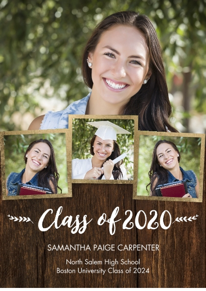 2020 Graduation Announcements Flat Matte Photo Paper Cards with Envelopes, 5x7, Card & Stationery -2020 Class of Snapshots by Tumbalina