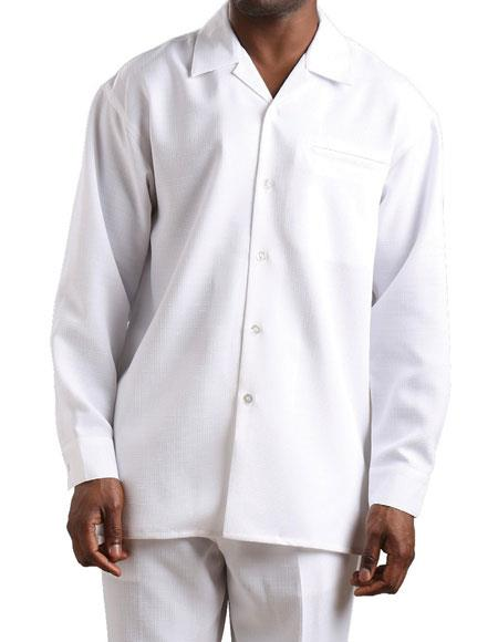 Men's 2 piece long sleeve Solid White Casual walking suit Cuffed Pants