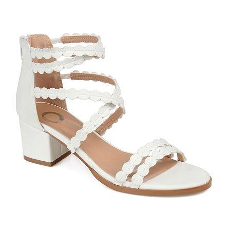 Journee Collection Womens Jasiri Pumps Block Heel, 6 1/2 Medium, White