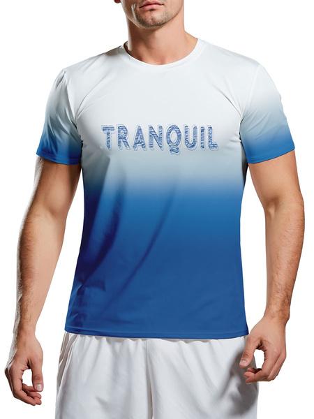 Milanoo Hombres Camisetas Joya Cuello Impreso Manga Corta Casual Camiseta