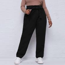 Plus Paperbag Waist Tie Front Mom Jeans