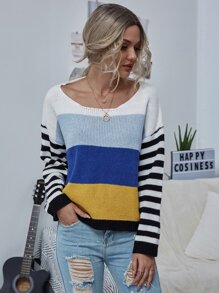 Drop Shoulder Colorblock Striped Sweater