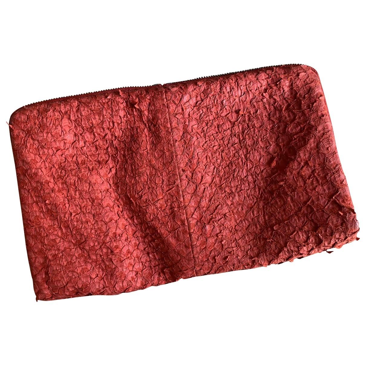 Helmut Lang \N Clutch in  Rot Leder