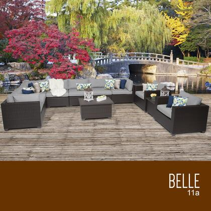 BELLE-11a-GREY Belle 11 Piece Outdoor Wicker Patio Furniture Set 11a with 2 Covers: Wheat and