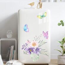 Flower & Butterfly Print Fridge Sticker