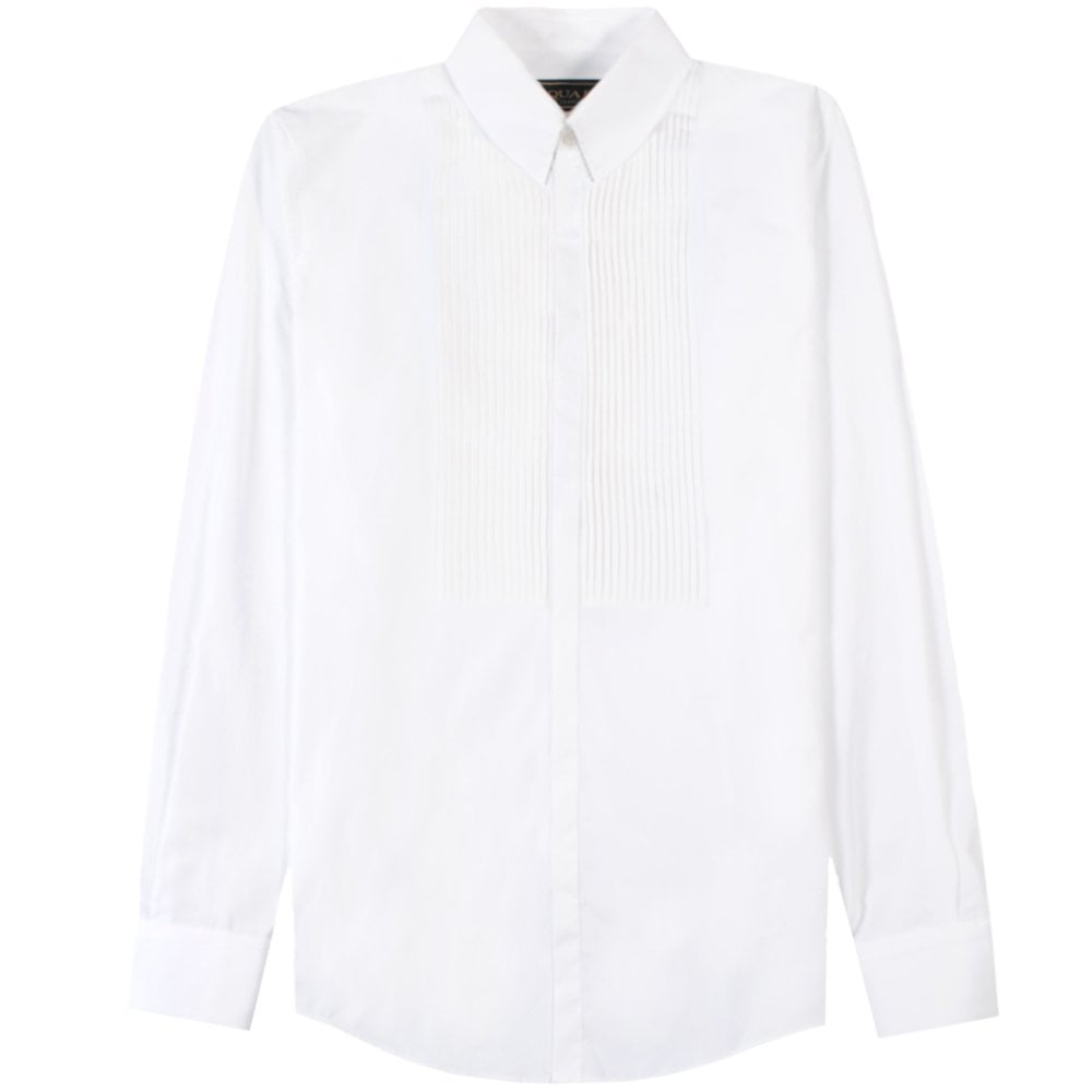 Dsquared2 Pleated Patterned Shirt White Colour: WHITE, Size: MEDIUM