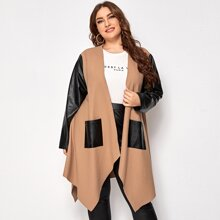 Plus PU Leather Sleeve Open Front Coat