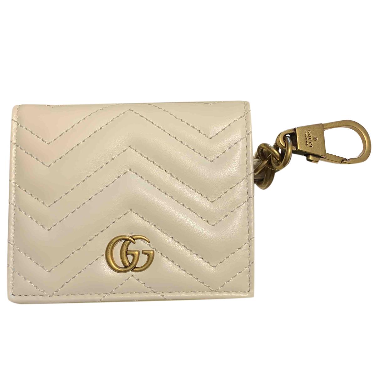 Gucci - Petite maroquinerie Marmont pour femme en cuir - blanc
