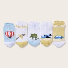 5pairs Toddler Kids Car Pattern Socks