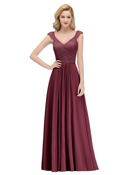 Milanoo Bridesmaid Dresses Lace A Line V Neck Short Sleeve Floor Length Wedding Party Dress