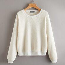 Solid Fluffy Sweatshirt