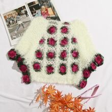 Jersey con flor tejido mullido de manga murcielago