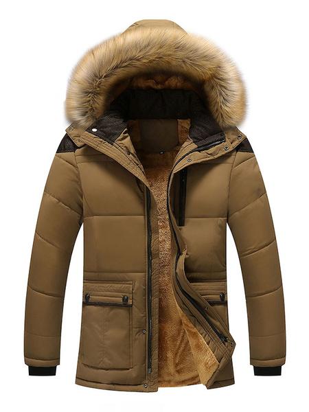 Milanoo Overcoat Men Casual Furry Hooded Parka Overcoat Cotton Fill Plush Lining Winter Down Coat