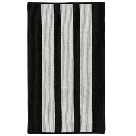Colonial Mills Cayman Stripe Braided Rectangular Reversible Indoor/Outdoor Rugs, One Size , Black