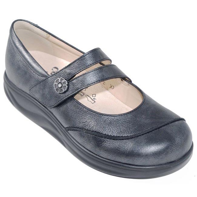 Finn Comfort Sacramento Nerosilver Leather Soft Footbed 8 Uk