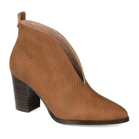 Journee Collection Womens Bellamy Stacked Heel Booties, 6 1/2 Medium, Beige