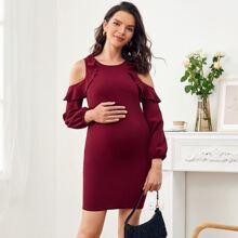 Maternity Cold Shoulder Ruffle Trim Bodycon Dress
