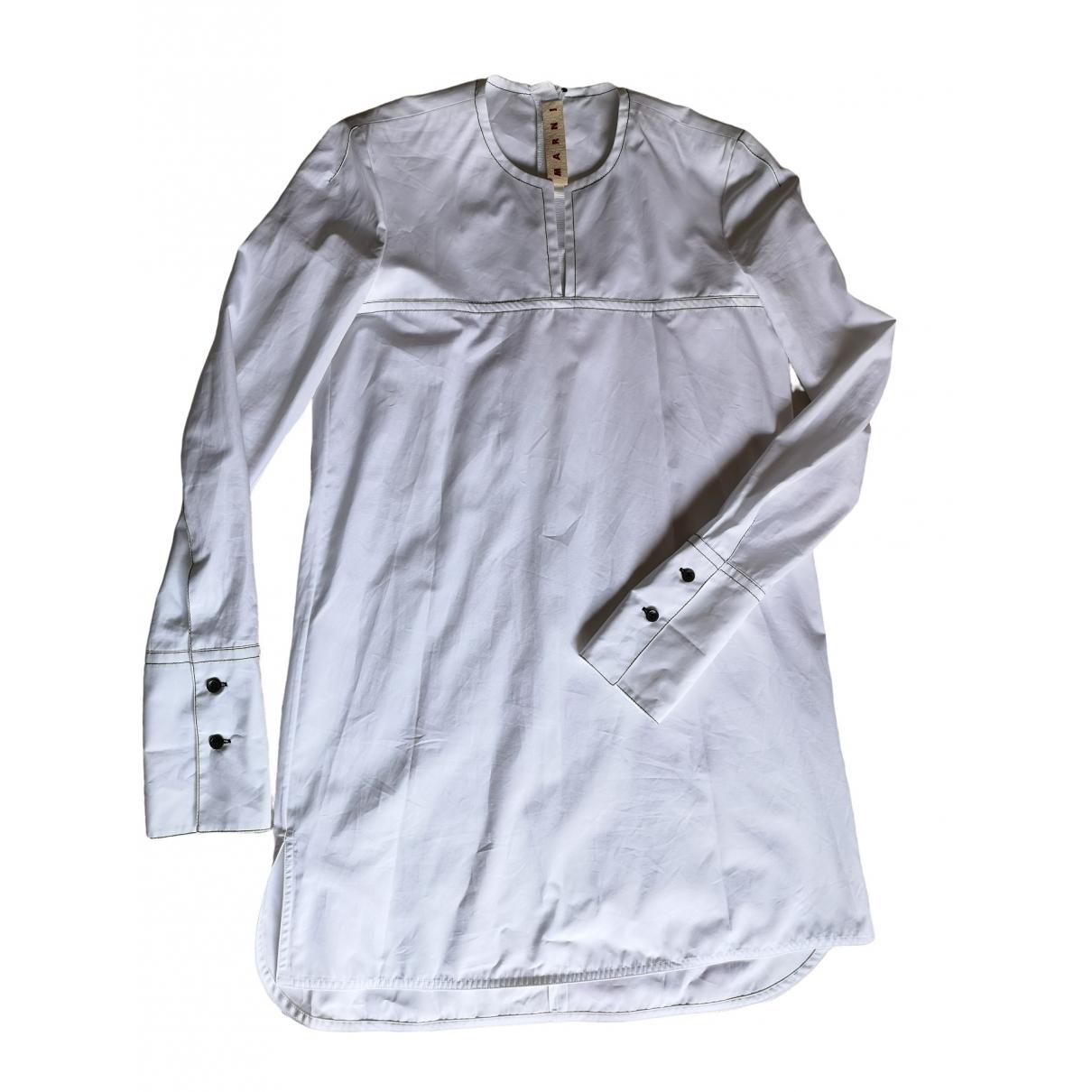 Marni - Robe   pour femme en coton - blanc