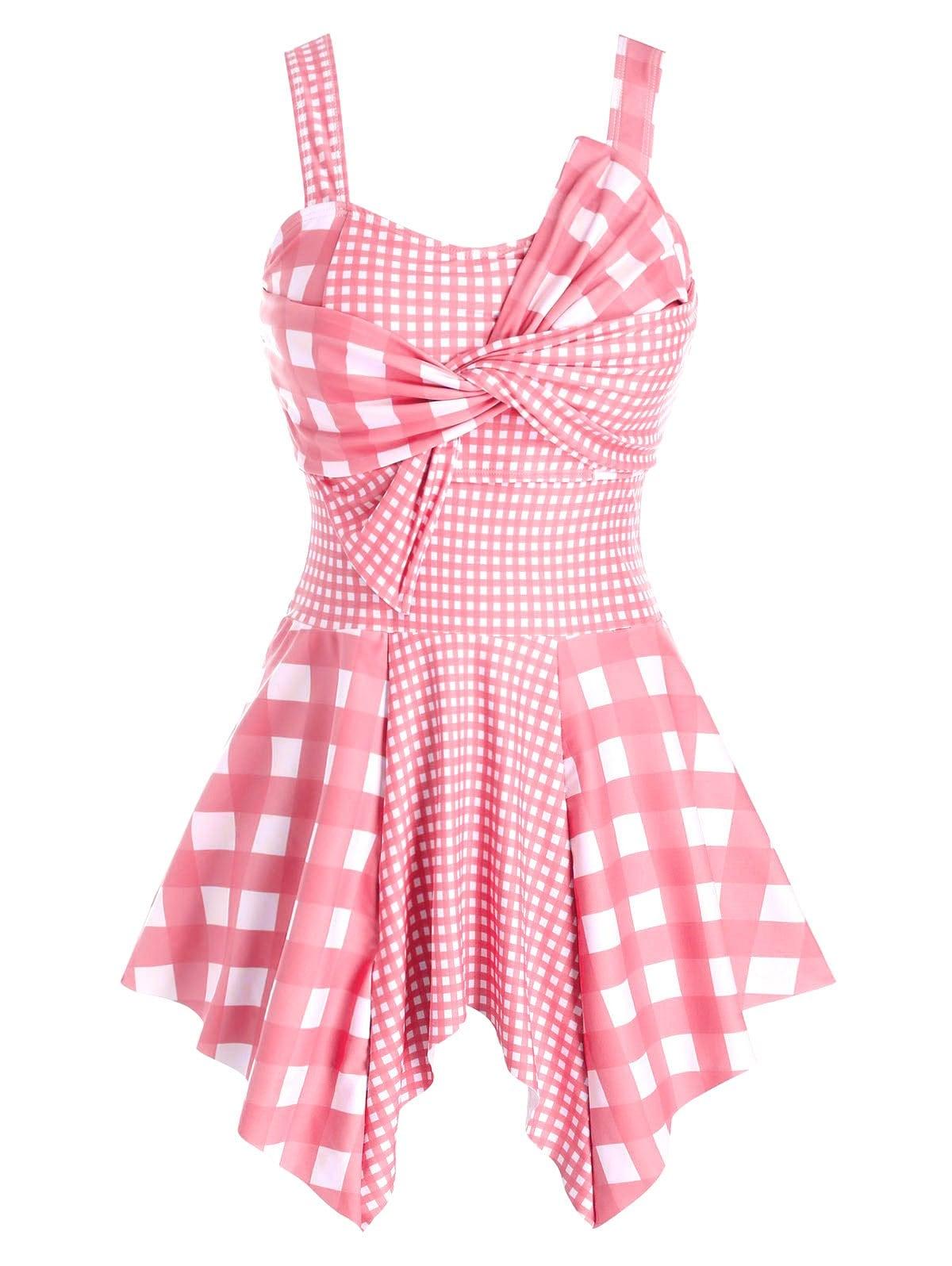 Plus Size Plaid Twist Handkerchief Asymmetric Tankini Swimwear